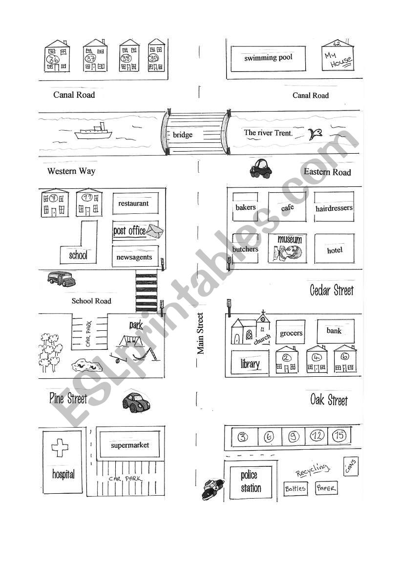 giving directions map esl worksheet by yetigumboots. Black Bedroom Furniture Sets. Home Design Ideas