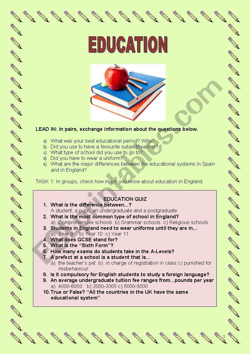 EDUCATION LESSON PLAN worksheet