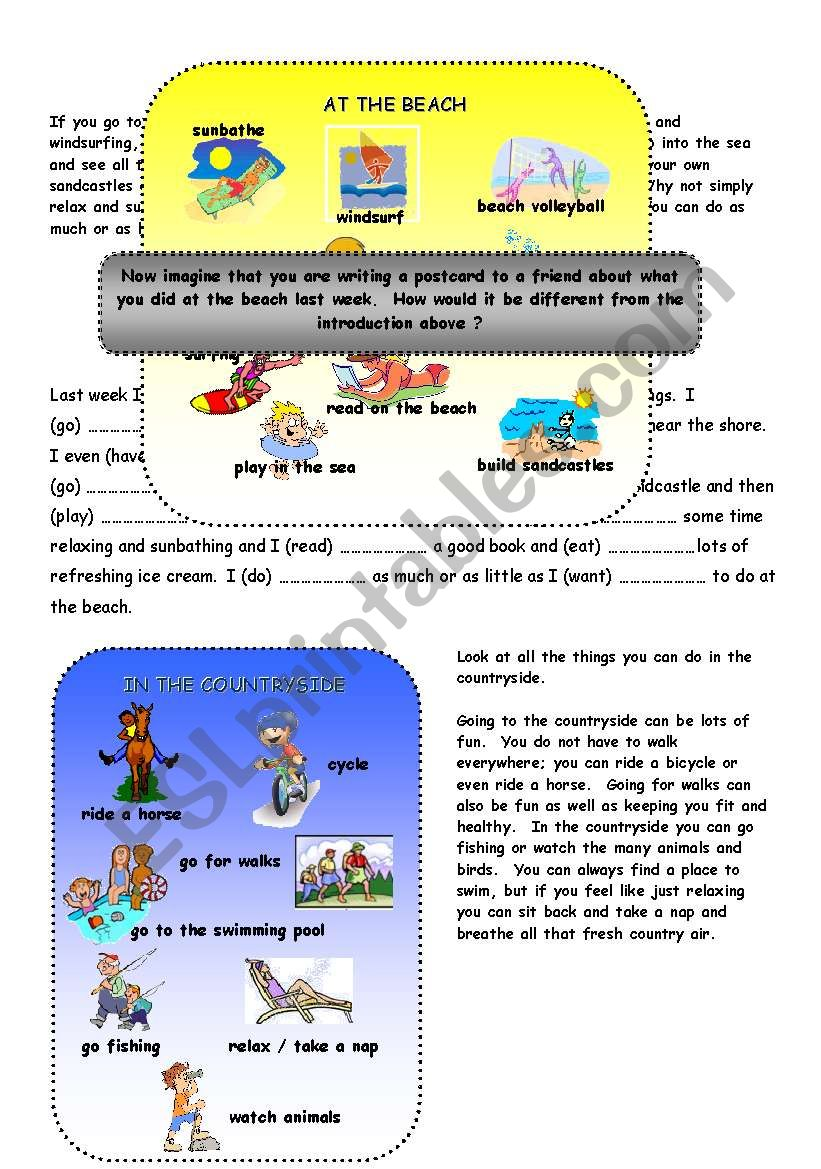 Holidays - Past Tense worksheet