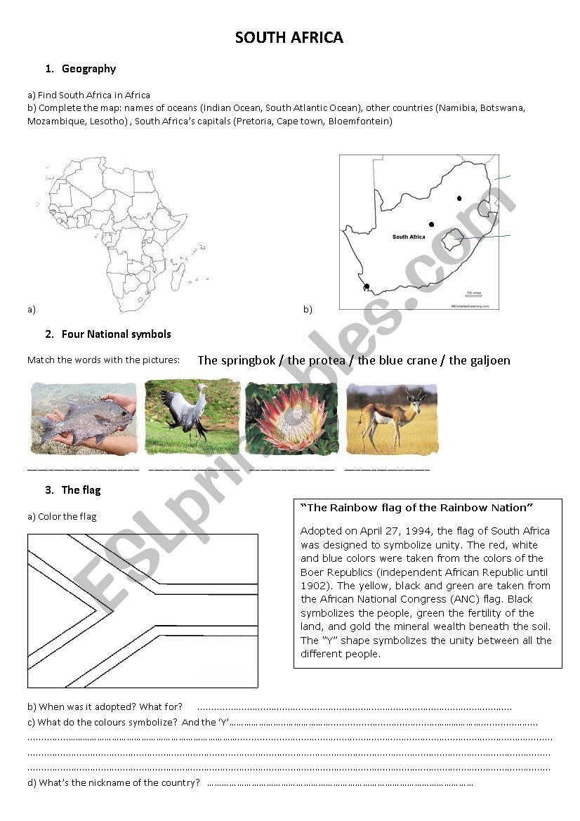 South Africa - ESL worksheet by mgillet1
