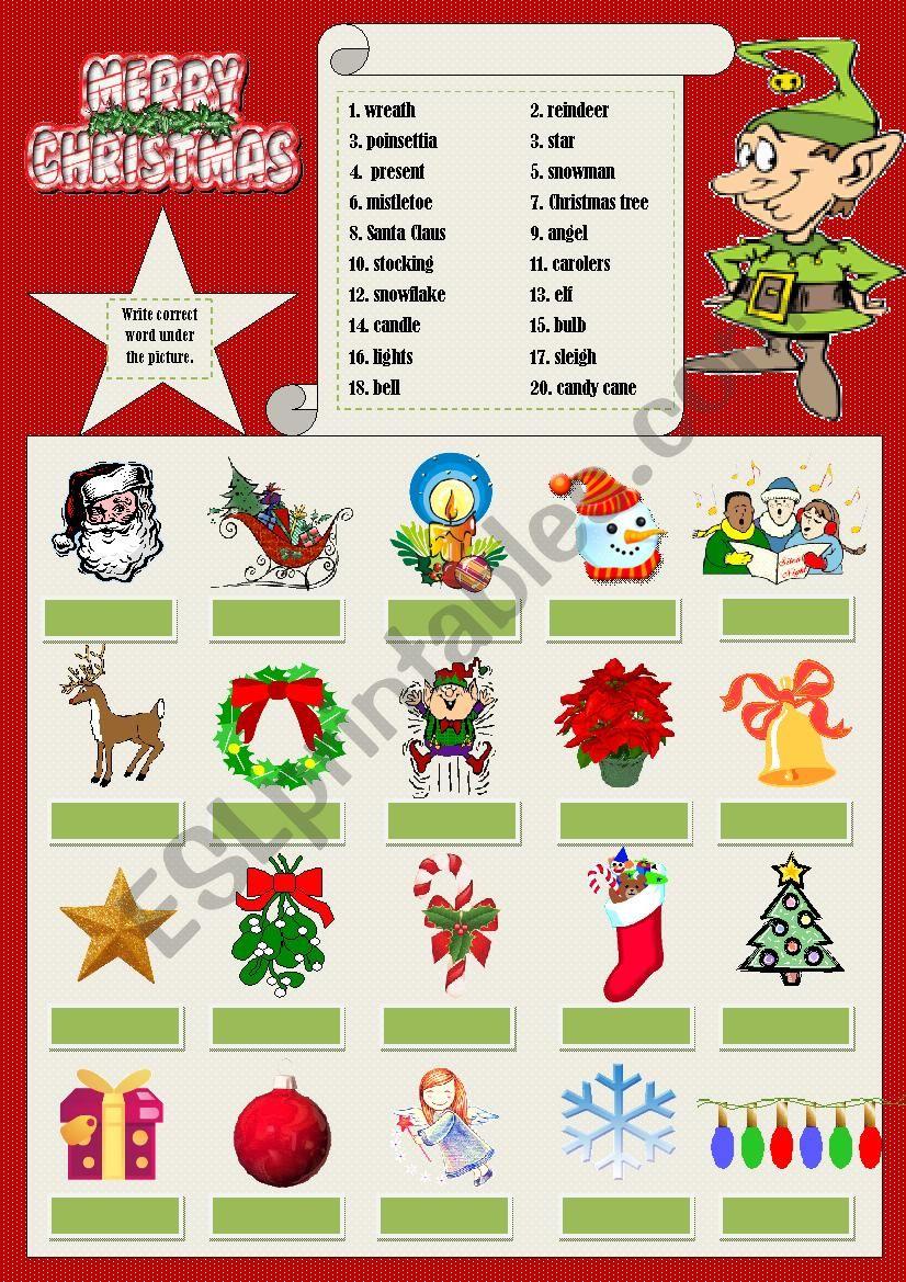 Christmas vocabulary worksheet