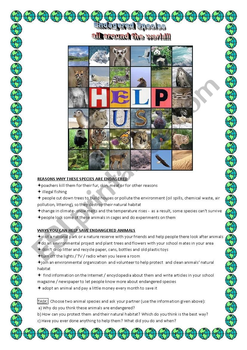 Endangered Animals - Speaking Activity with prompts