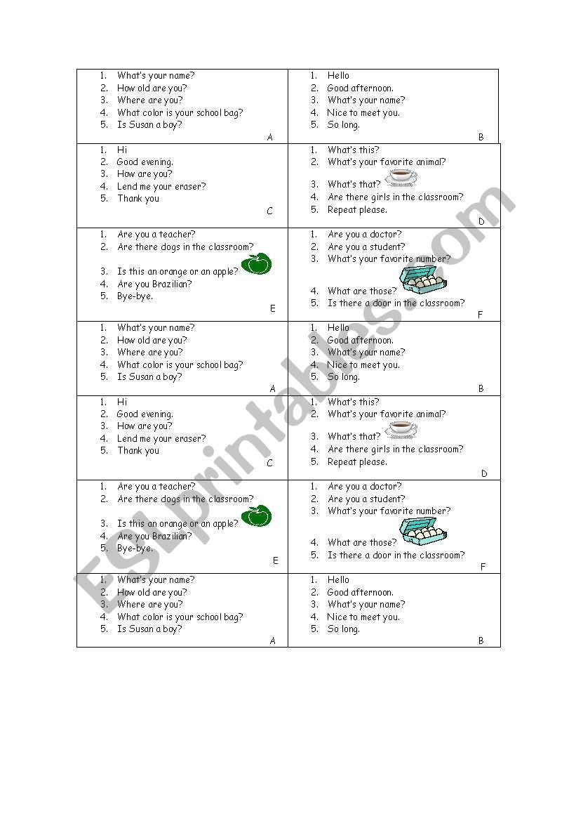 picture about Printable Conversation Cards known as basic printable interaction playing cards - ESL worksheet via