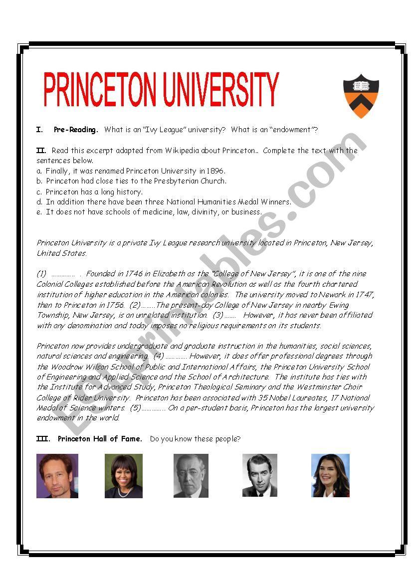 Princeton University Reading Exercise