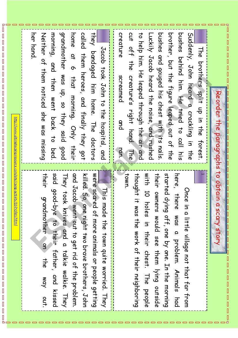Horror / scary story - ESL worksheet by feridrzg
