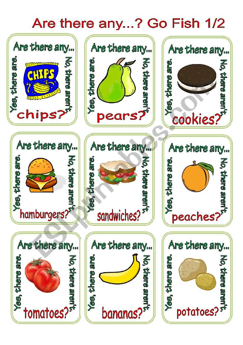 Are there any...? Go Fish 1/2 worksheet