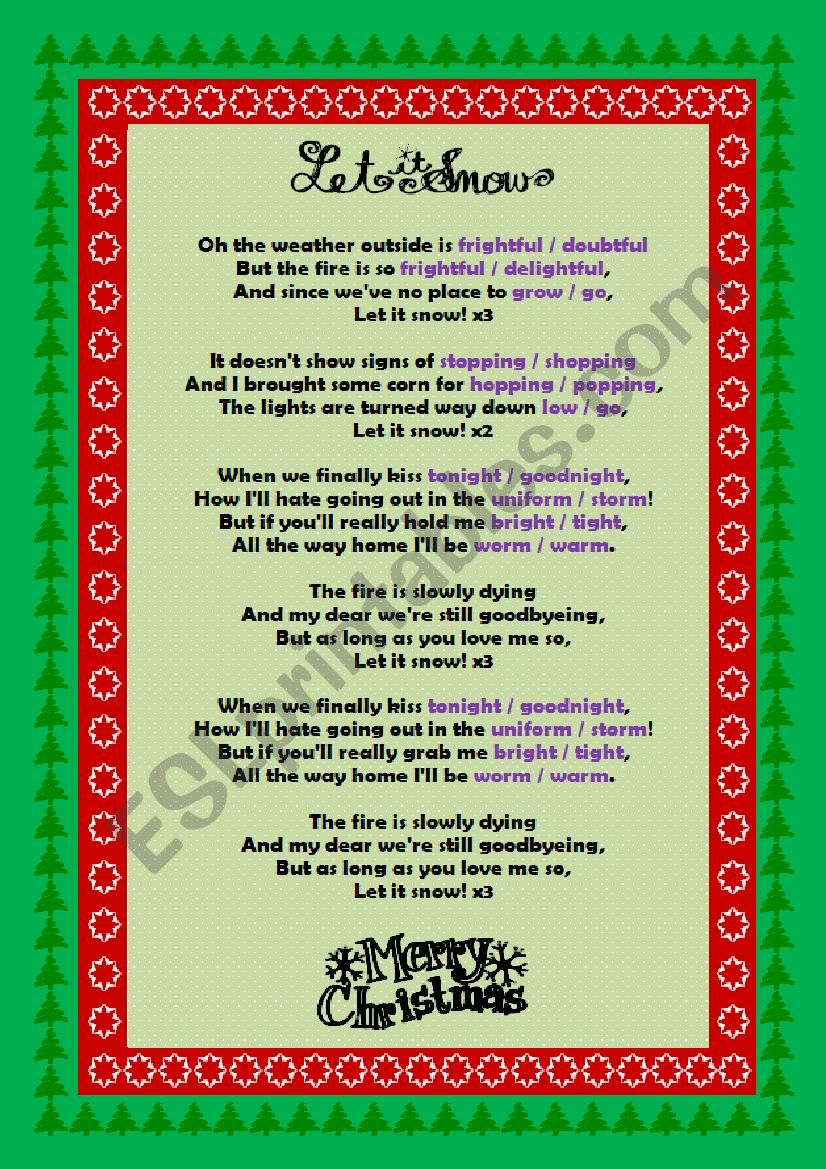 Let it Snow by Dean Martin worksheet