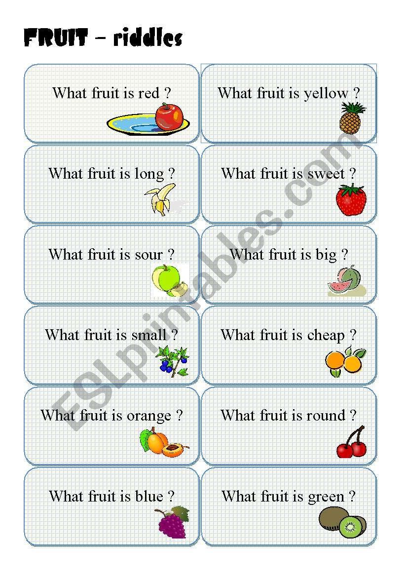 fruit riddles esl worksheet by lucak f. Black Bedroom Furniture Sets. Home Design Ideas
