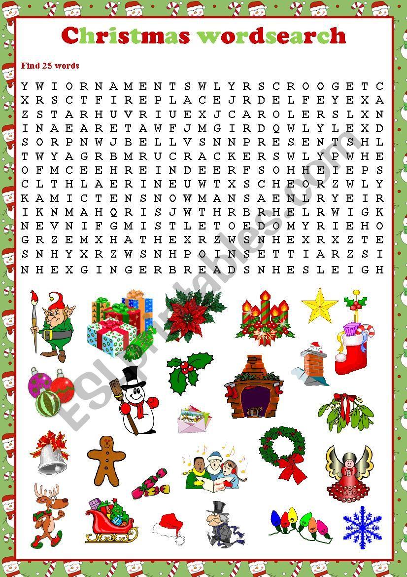 Christmas wordsearch - ESL worksheet by