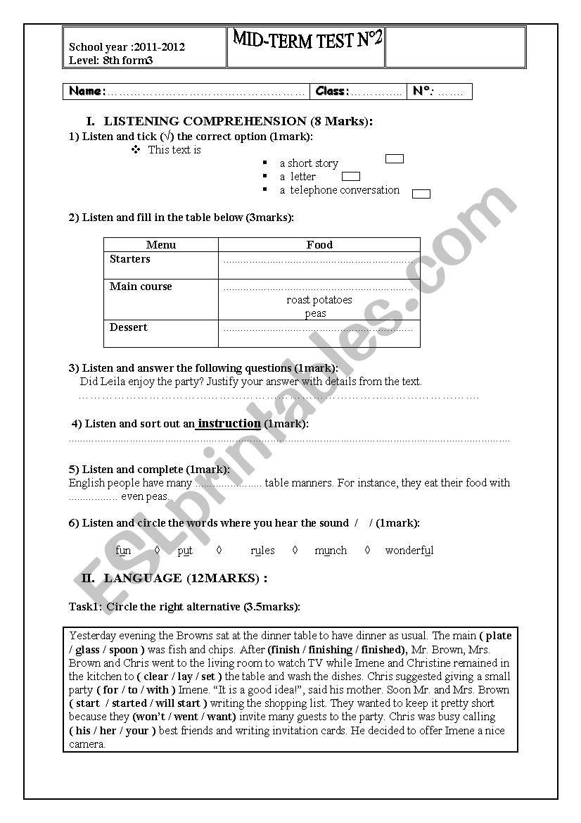8th form mid term test n 2 worksheet