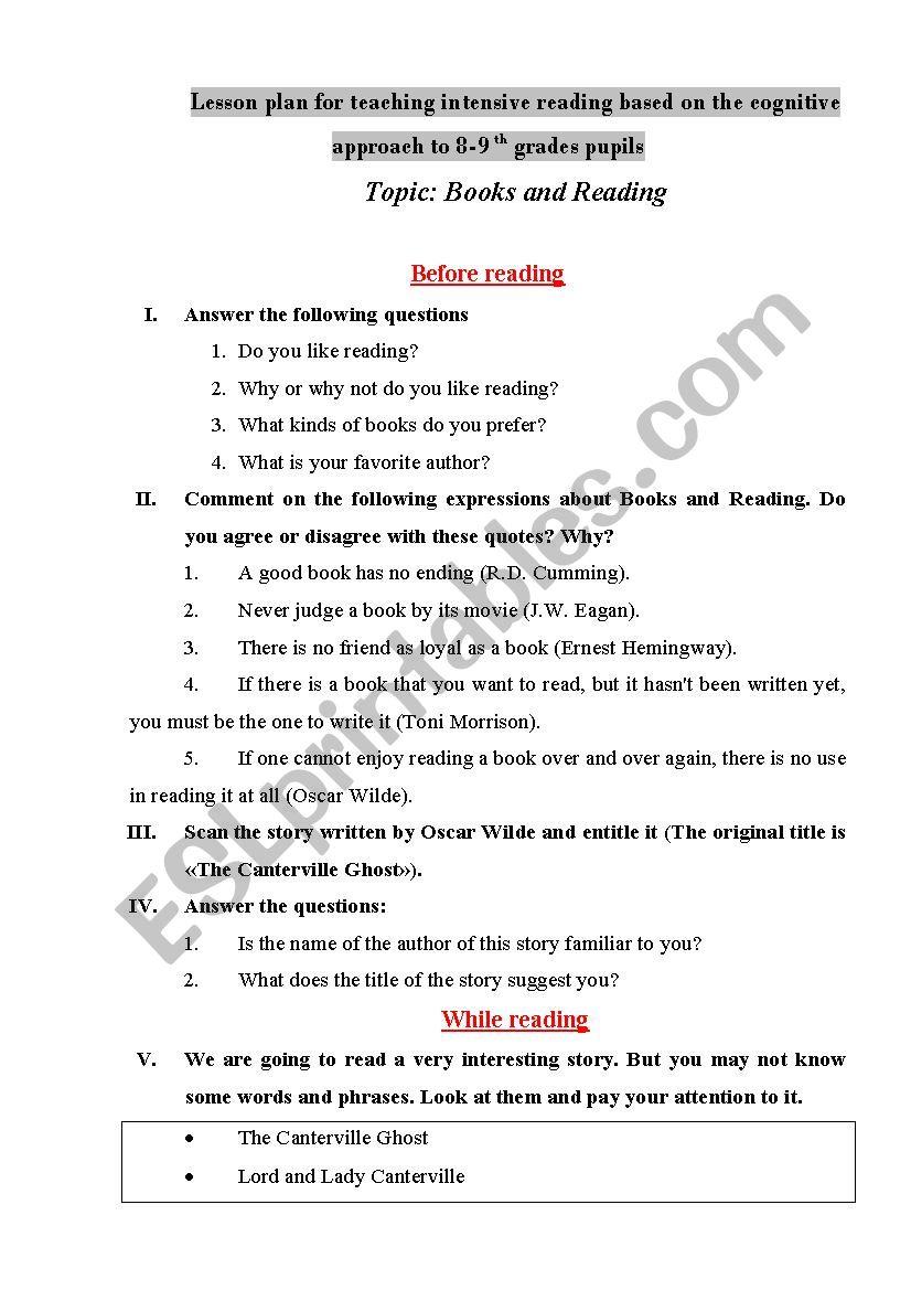 intensive reading worksheets
