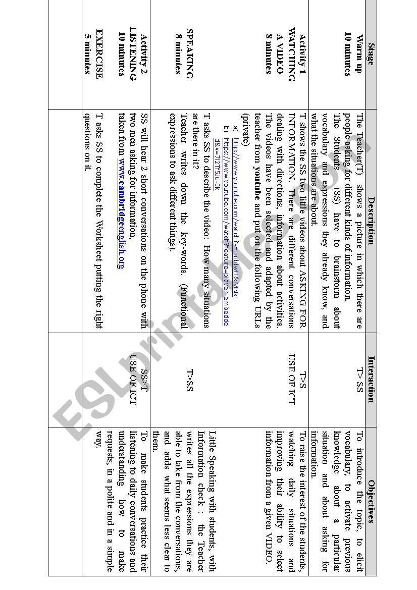 ASKING FOR INFO worksheet