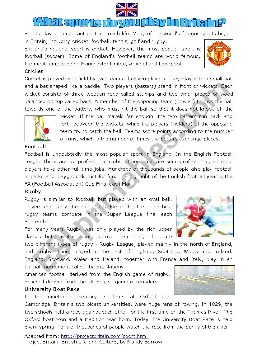 Sports played in Britain worksheet