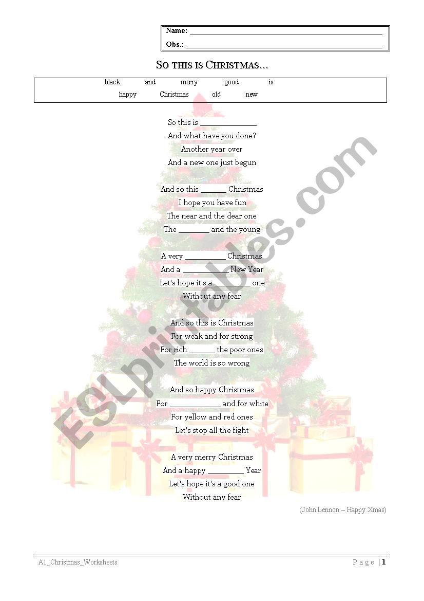 So this is Christmas worksheet
