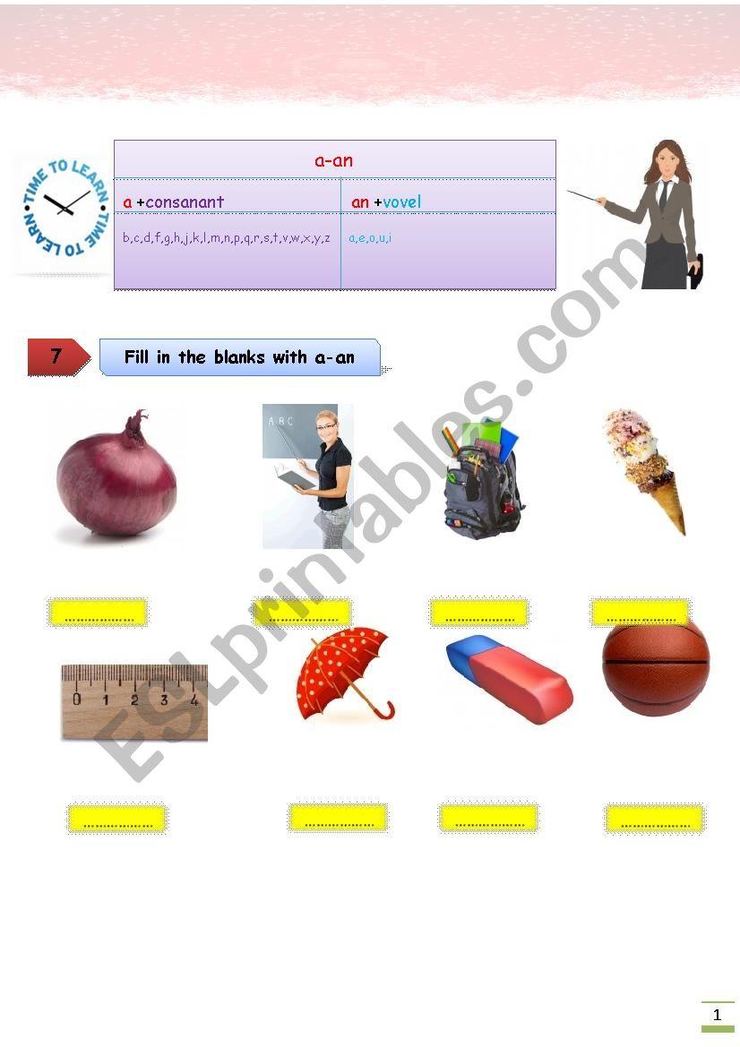 classroom a-an worksheet