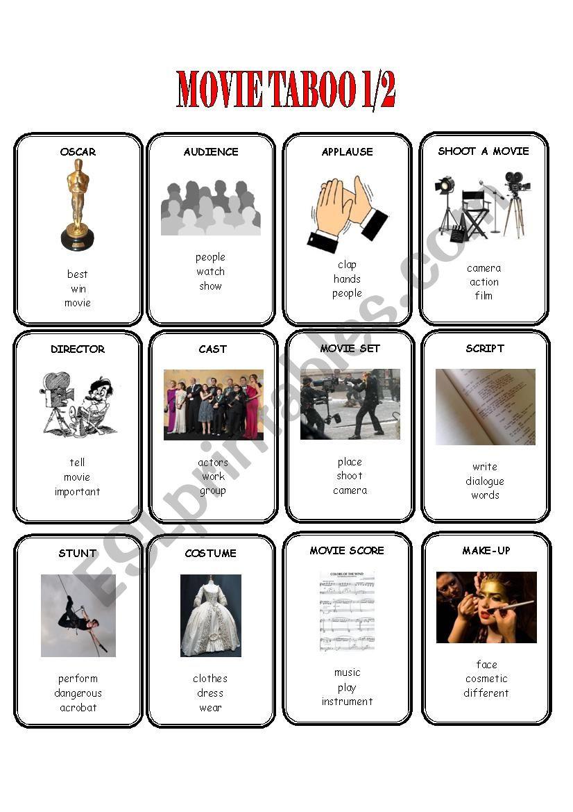 Movie Taboo 1/2 worksheet