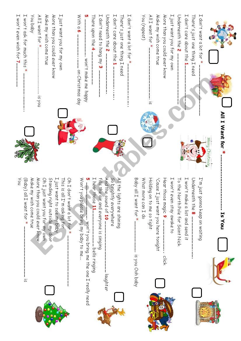 All I want for Xmas - ESL worksheet by isabellep