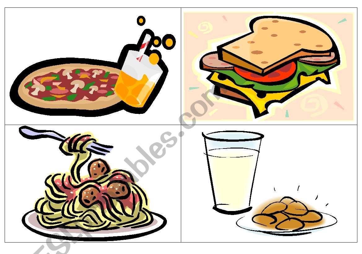 Dinner flash-cards worksheet