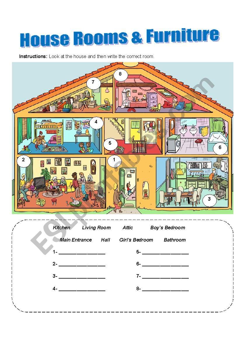 House Rooms Worksheet: ESL Worksheet By JoelRiveraMora
