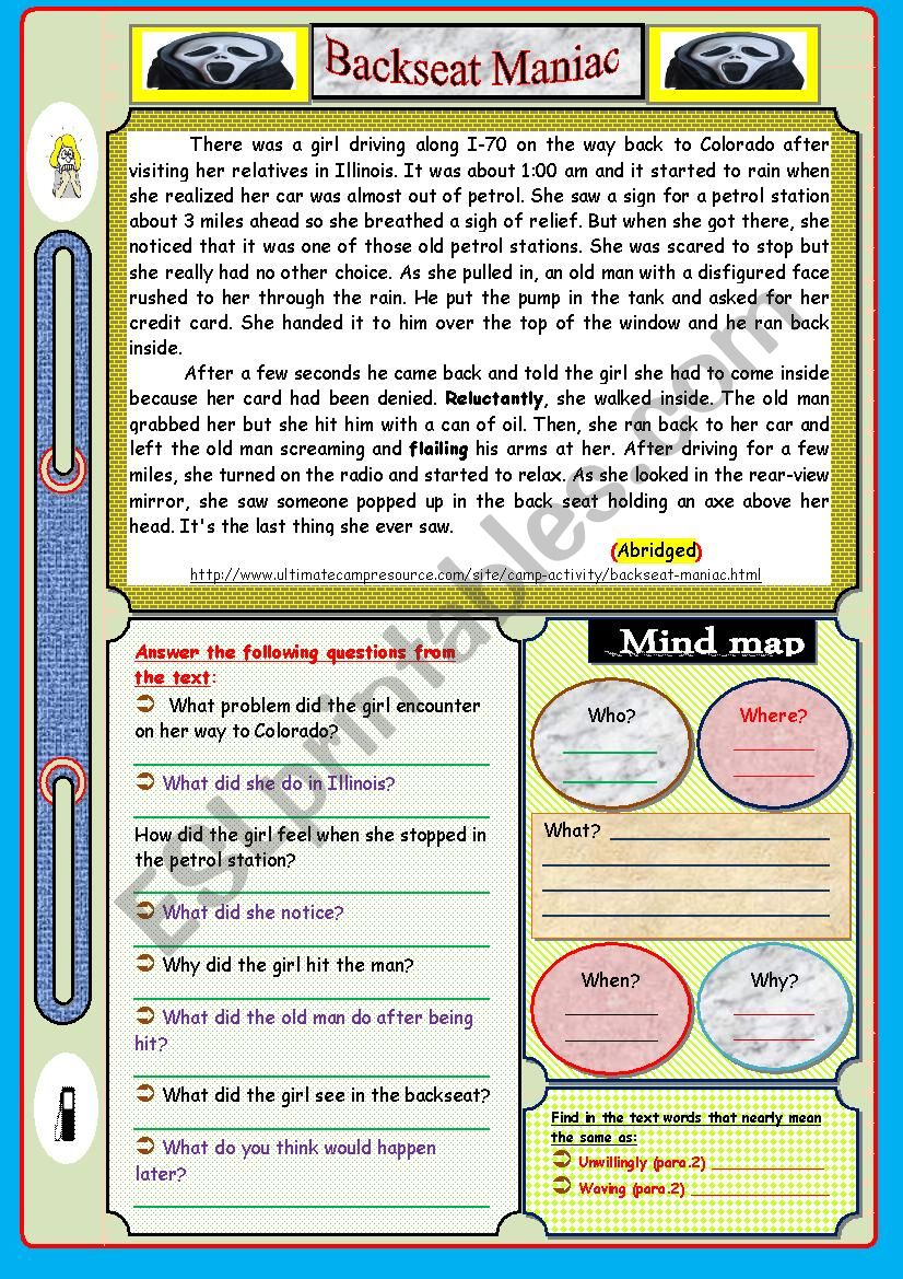 Scary Story : Reading Comprehension - ESL worksheet by feridrzg