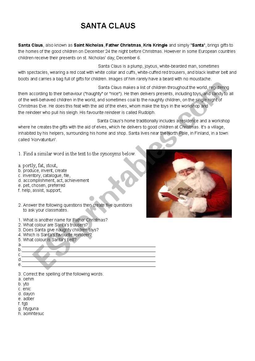 Santa worksheet
