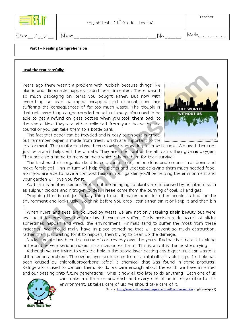 - Test On The Environment 11th Grade - ESL Worksheet By Sonia Santos