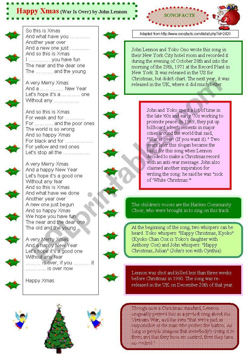 Happy Xmas (war is over) John Lennon - ESL worksheet by Jehanne18