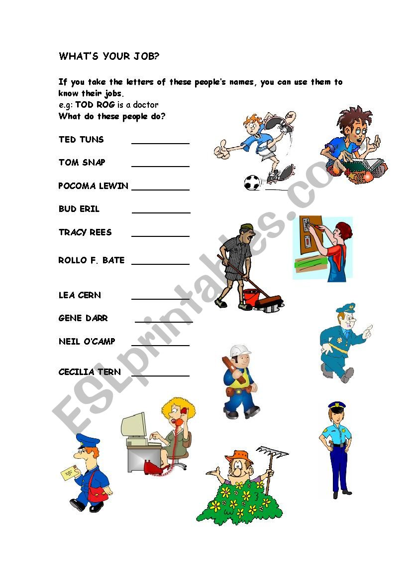 What´s your job? worksheet