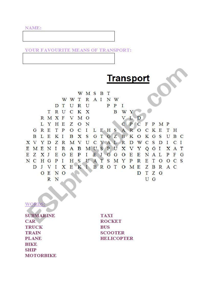 Word search TRANSPORT worksheet