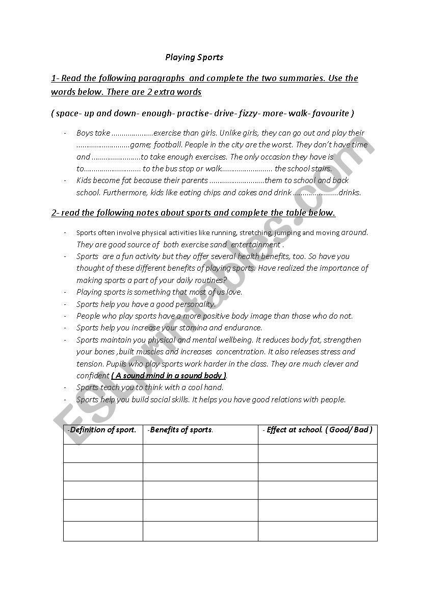 playing sports worksheet