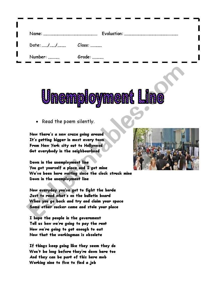 Unemployment Line worksheet