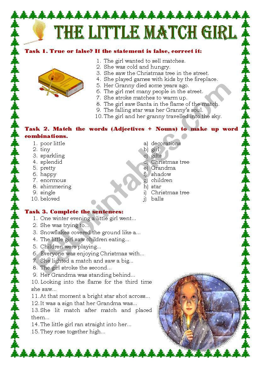 The Little Match Girl Worksheet The Little Match Girl Worksheet