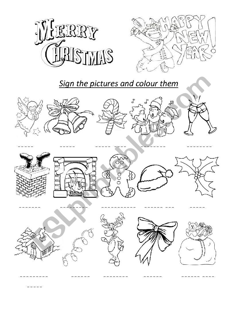 merry christmas and happy new year esl worksheet by katena18. Black Bedroom Furniture Sets. Home Design Ideas