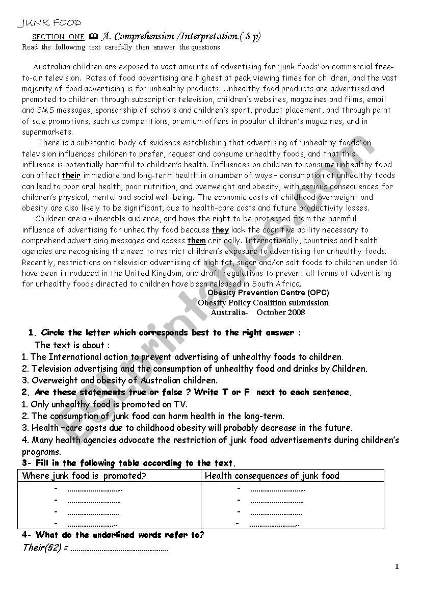 consumption of junk food - ESL worksheet by assiafir