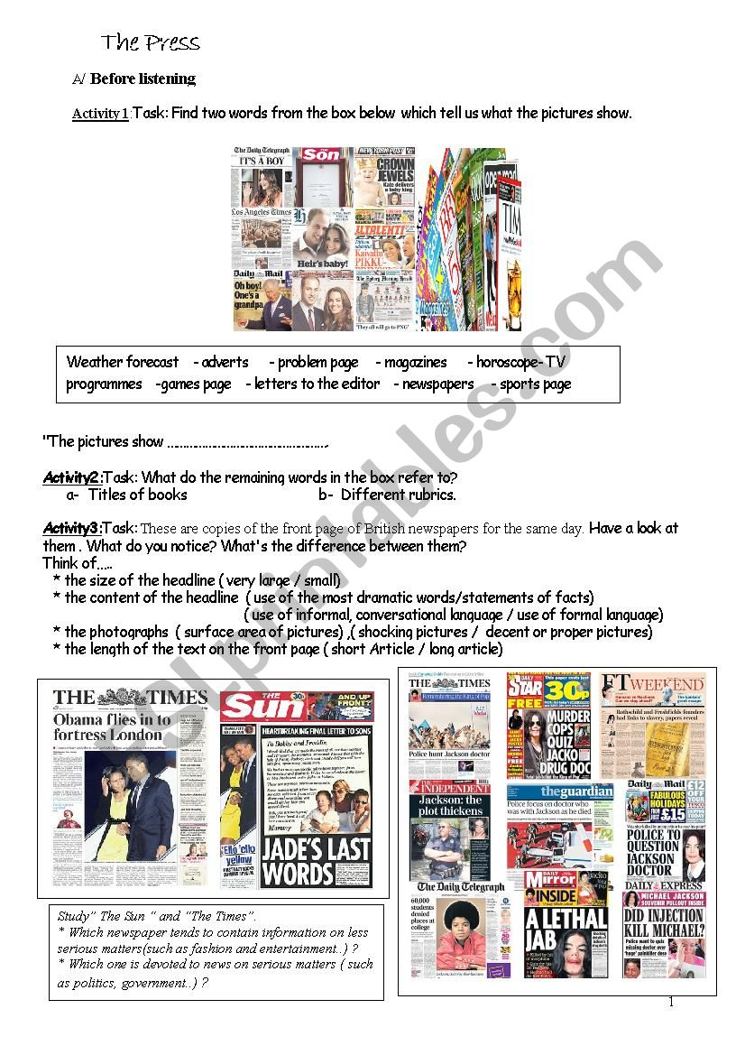The British Press : Tabloids Vs Broadsheets(serious papers)