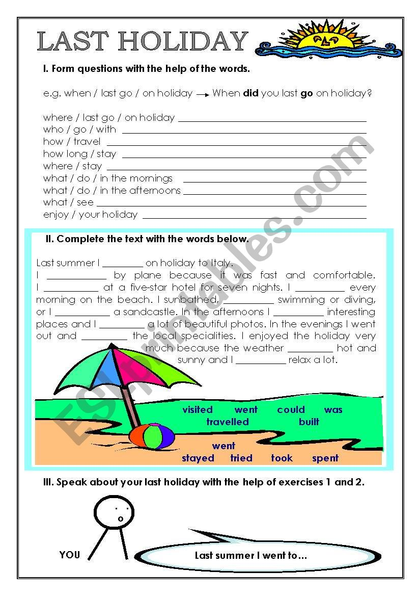 LAST HOLIDAY worksheet