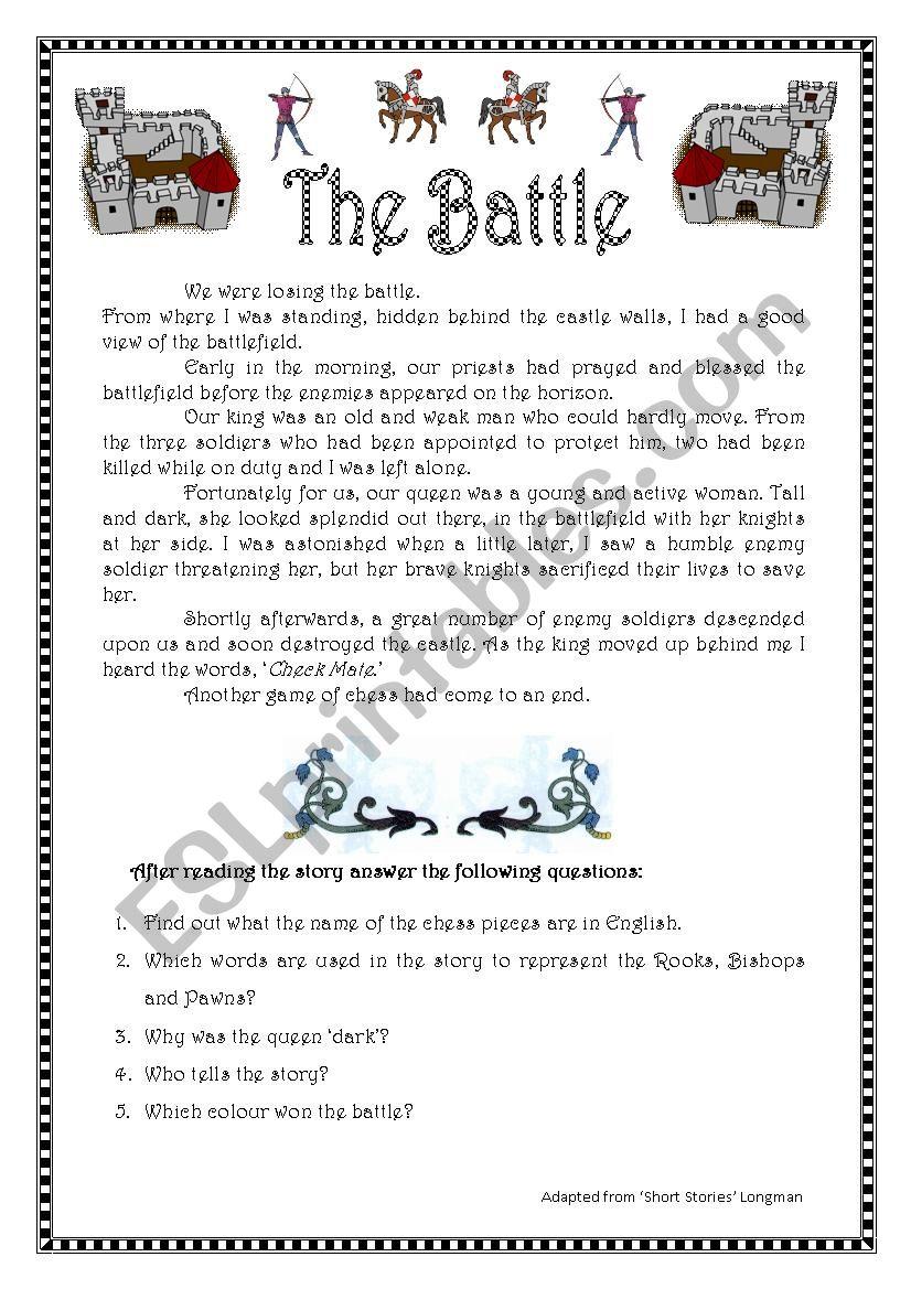 Narrative tenses. The battle worksheet