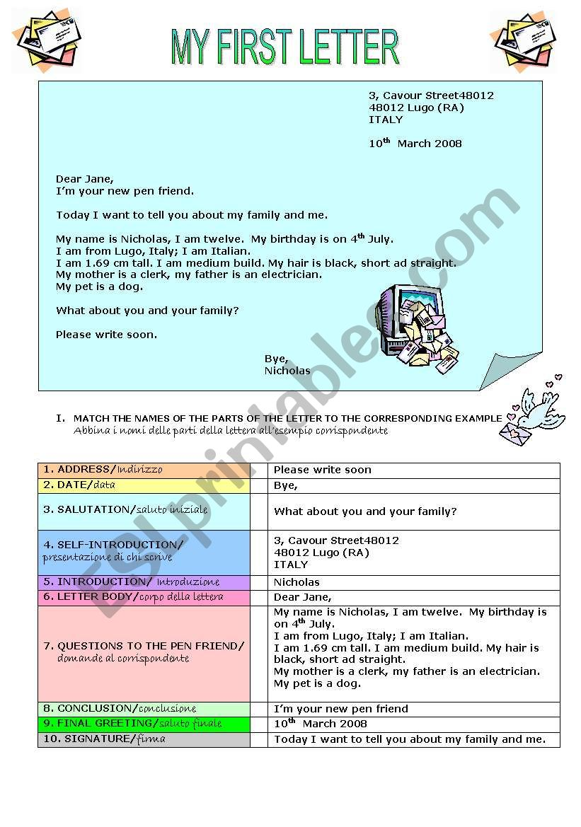 INTRODUTION TO LETTER WRITING - ESL worksheet by cerix64