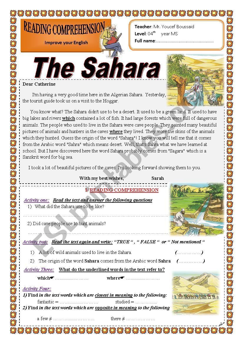 The Sahara worksheet