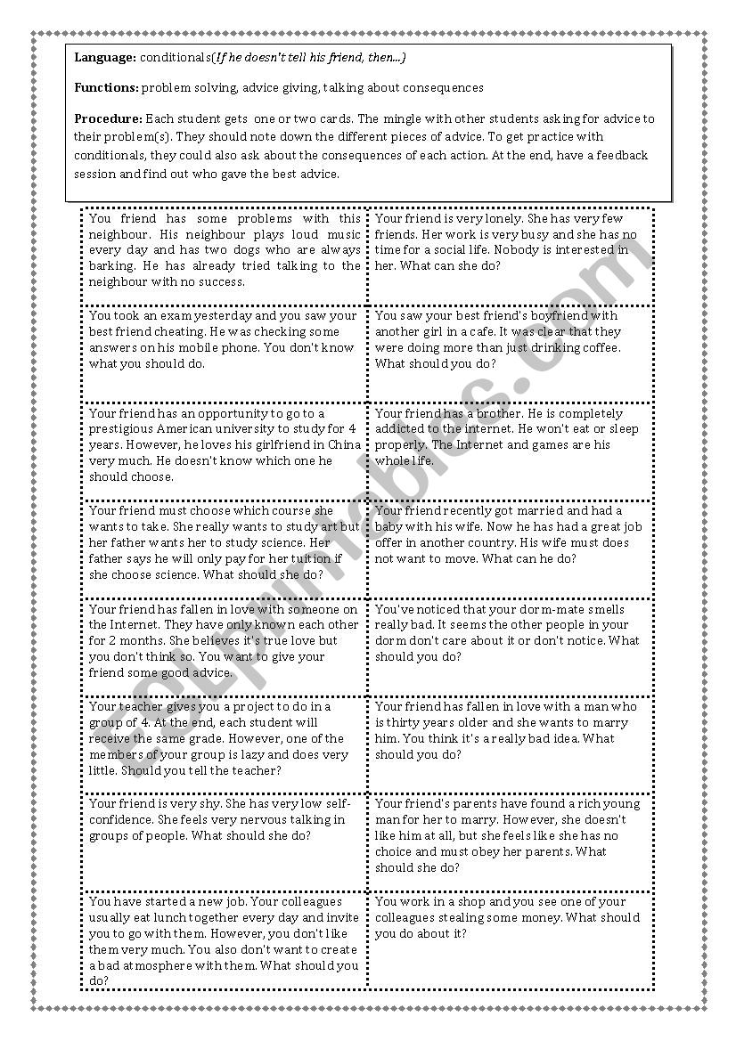 Problems/ Advice / Consequences Activity