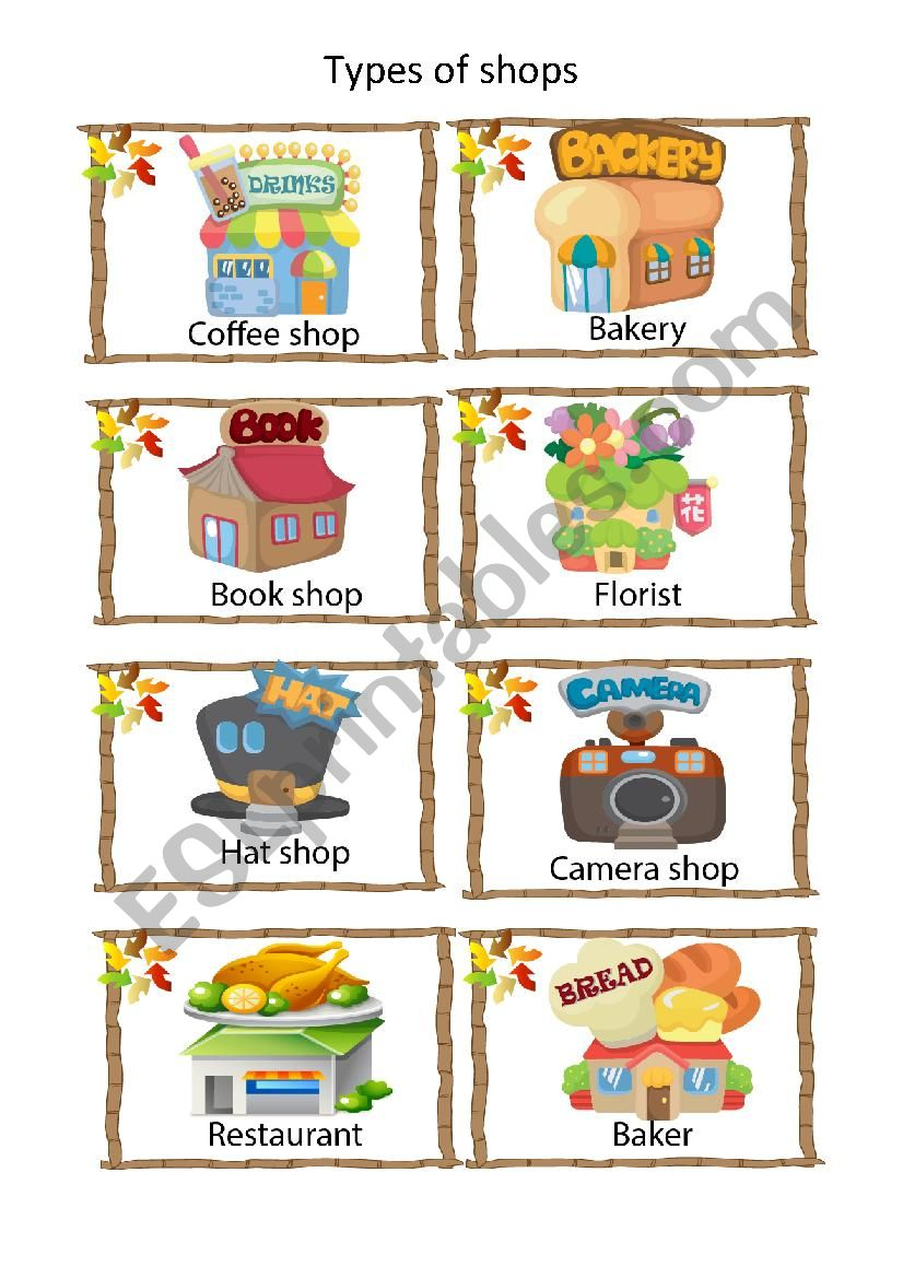 Types of shop worksheet