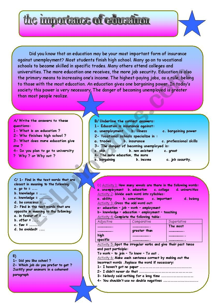 the importance of education - ESL worksheet by mestour.m