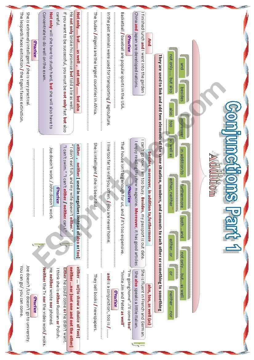 conjuctions Part 1 worksheet