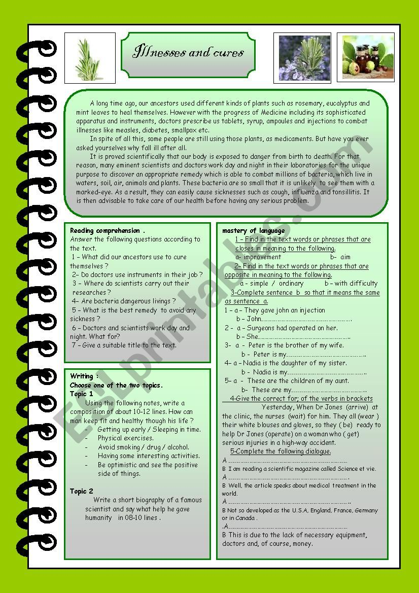 illnesses and cures - ESL worksheet by mestour m
