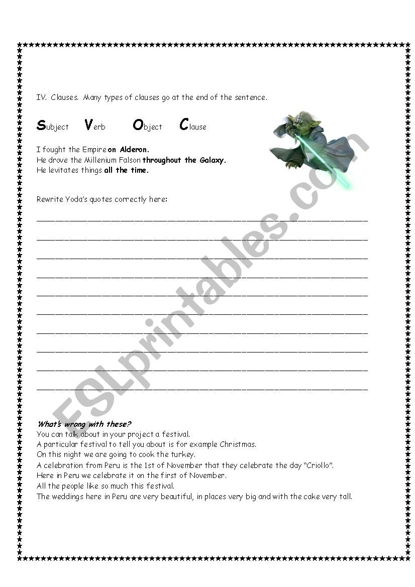 Yoda Quotes Good Syntax You Must Use Esl Worksheet By Estherlee76