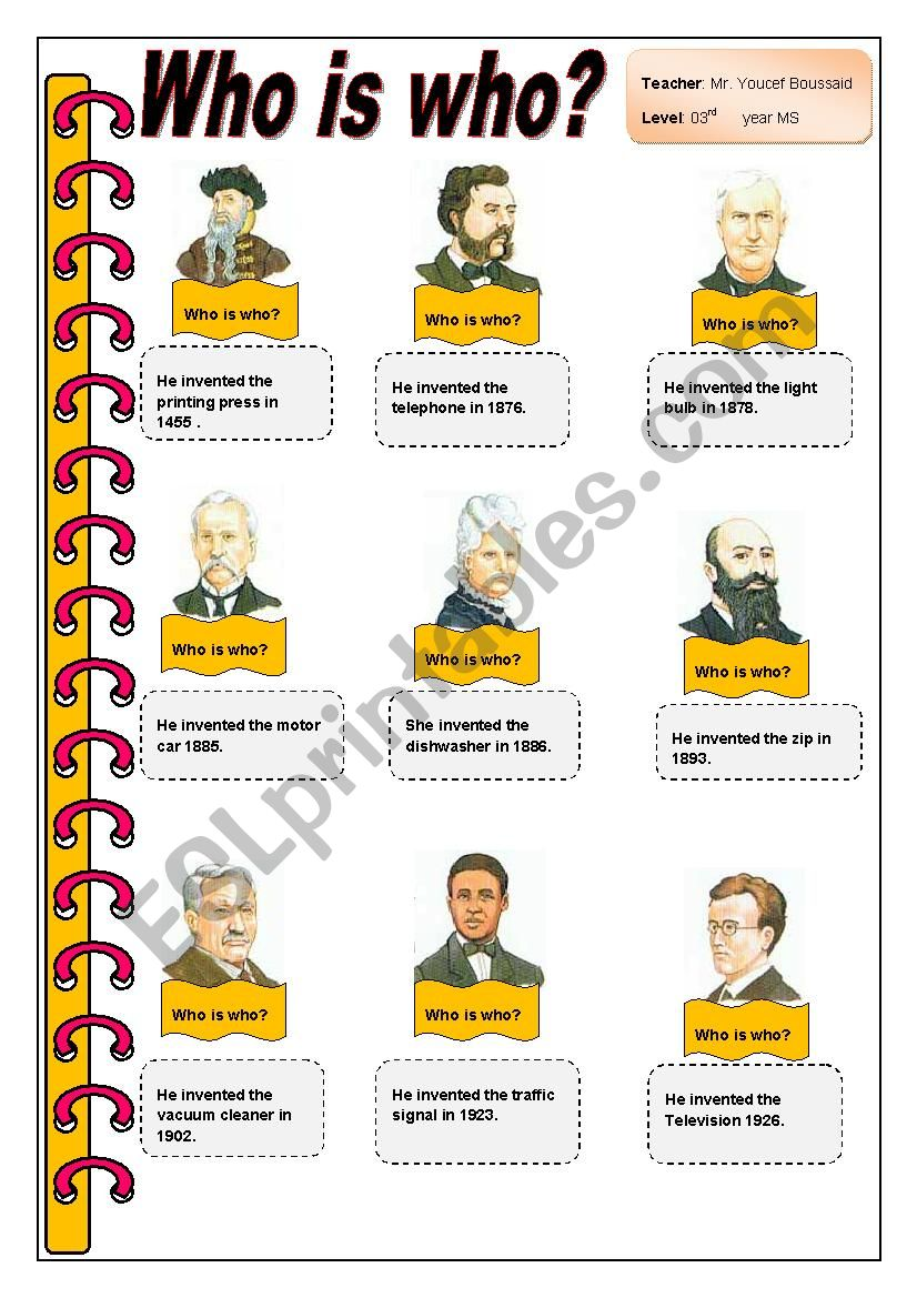 Who is who?  (Inventors) worksheet