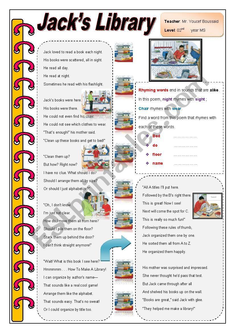 Jack's Library - ESL worksheet by you_per7
