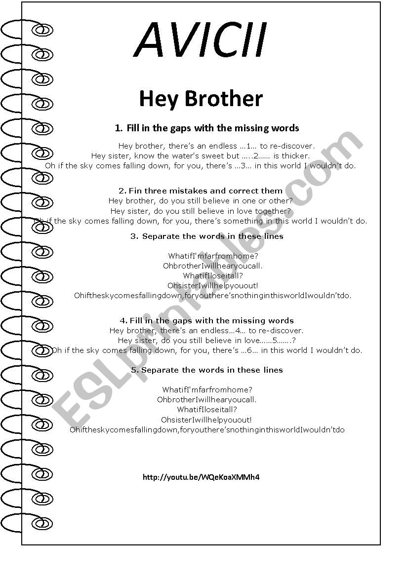 Avicii. Hey Brother worksheet