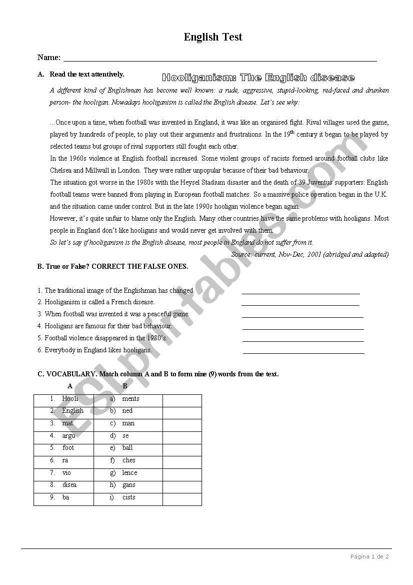Test on Sports (Football-hooliganism) 8th Form