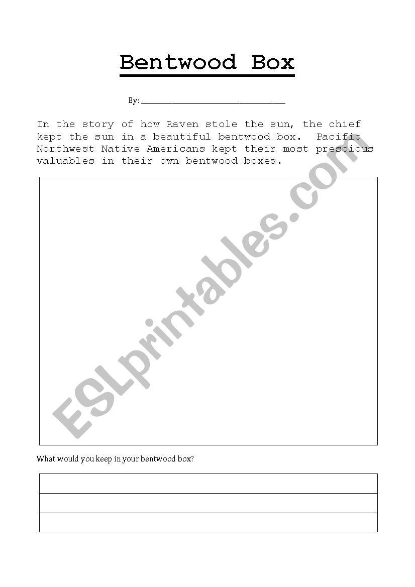 Bentwood Box Worksheet worksheet